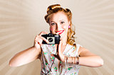Beautiful Woman Photographer Holding Retro Camera