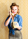 Vintage Fifties Telephone Operator Holding Phone