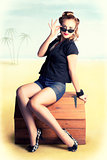 Travelling Pin-Up Girl Sitting On Vintage Luggage