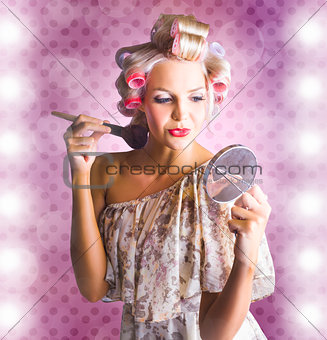Beautiful Retro Woman Applying Makeup Cosmetics