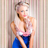 Cute Blonde Pin-Up Girl With Cheeky Smile