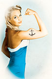 Fit Pin-Up Girl With Big Muscles And Anchor Tattoo