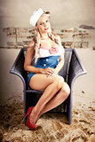 Retro Blond Beach Pinup Model With Elegant Look
