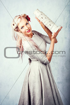 Elegant European Woman Holding Holiday Landmark
