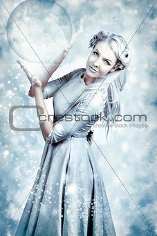 Magic Winter Woman In Luxury Fashion And Makeup