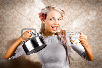 Beautiful Young Retro Woman With Cup Of Coffee
