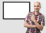 man pointing finger on plasma tv