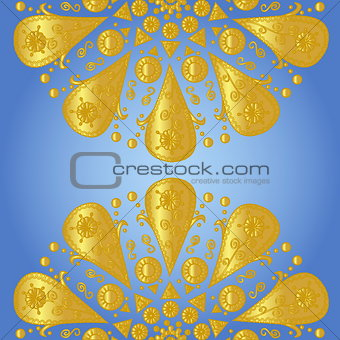 Blue background with ornamental lace