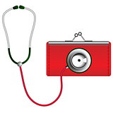 Stethoscope on wallet. Financial health concept.
