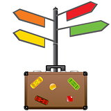 Street sign and travel suitcase. Tourism concept.
