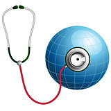 Stethoscope with blue globe