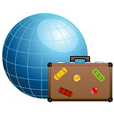 Travel concept. Blue globe and travel suitcase.