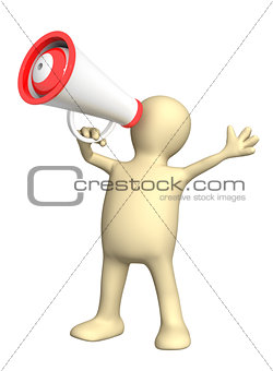 3d puppet with megaphone