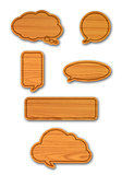 Wood board speech bubbles set