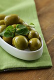 green marinated olives with oregano