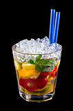 Alcohol drink, cocktail with fruits, ice, isolated black