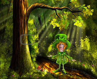 green gnome in the forest