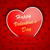 Valentine card with a heart placed on red background