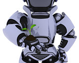 Robot  nurturing a  seedling plant 