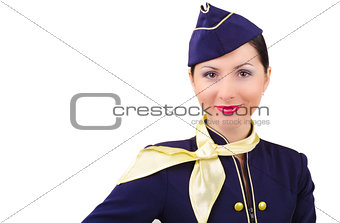 Beautiful young  smiling stewardess in uniform isolated