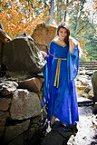 medieval princess in stone garden