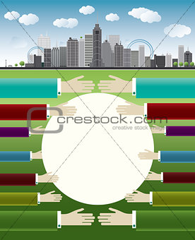 Business illustration with big city and hands