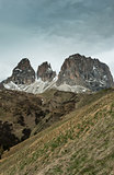 The view from the saddle Passo Sella