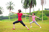 Asian girls yoga outdoor