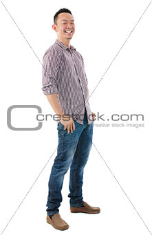 Cheerful full body Asian man