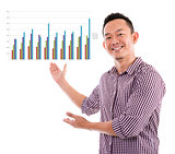 Asian showing business chart