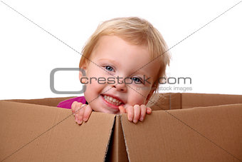 Toddler in box