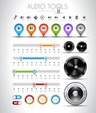 Audio tools design elements collection: 