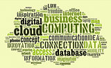 Cloud computing pictogram on green background