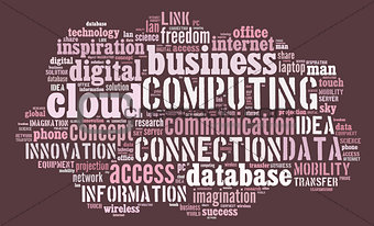 Cloud computing pictogram on pink background