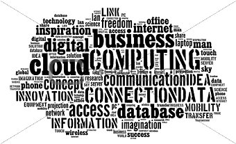 Cloud computing pictogram on white background