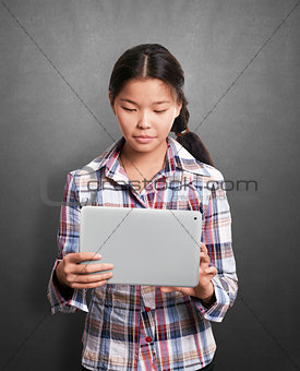 Asian Girl With Touch Pad