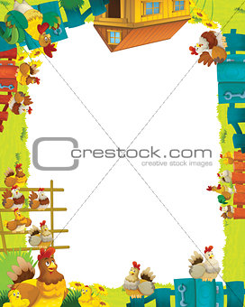 Cartoon farm frame with animals