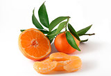 mandarin and slices on white