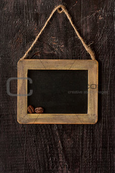 Chalk board with wood frame.