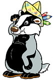 cartoon badger with pencils