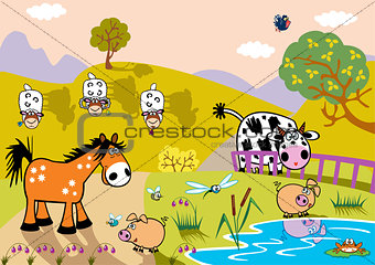 landscape with cartoon animals