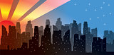 Vector sunrise in modern city skyline