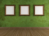 Grunge green room with golden frames