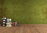 Empty  Green vintage room