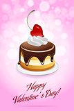 Happy Valentine&#39;s Day Card with Cake