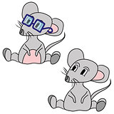 the grey mouse wearing glasses and a gray mouse with pink belly