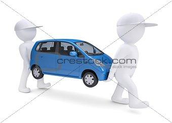 Two white 3d man bear a blue car