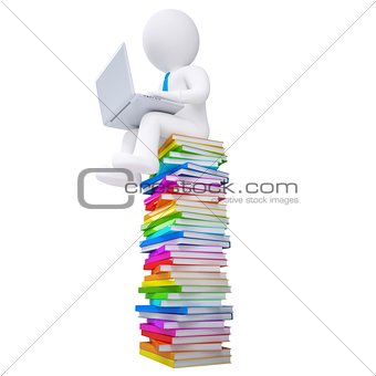 3d white man with a laptop sitting on books