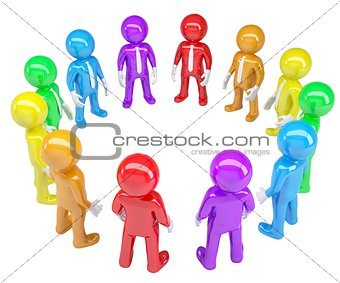 Colored people stood in a circle
