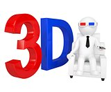 3d man in stereo glasses on a chair